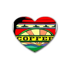 Coffee Tin A Classic Illustration Rubber Coaster (heart)  by Nexatart