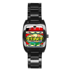 Coffee Tin A Classic Illustration Stainless Steel Barrel Watch by Nexatart