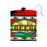 Coffee Tin A Classic Illustration Drawstring Pouches (Large)