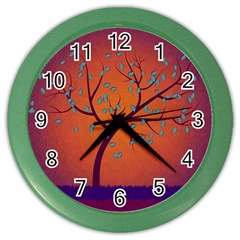 Beautiful Tree Background Color Wall Clocks by Nexatart