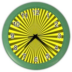 Sunburst Pattern Radial Background Color Wall Clocks by Nexatart