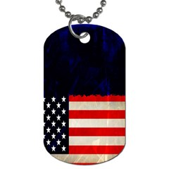 Grunge American Flag Background Dog Tag (two Sides) by Nexatart