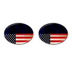 Grunge American Flag Background Cufflinks (oval) by Nexatart