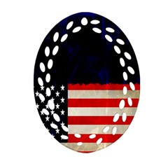 Grunge American Flag Background Ornament (oval Filigree) by Nexatart