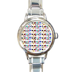 A Creative Colorful Background With Hearts Round Italian Charm Watch by Nexatart