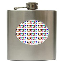 A Creative Colorful Background With Hearts Hip Flask (6 Oz) by Nexatart