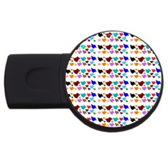 A Creative Colorful Background With Hearts Usb Flash Drive Round (2 Gb) by Nexatart