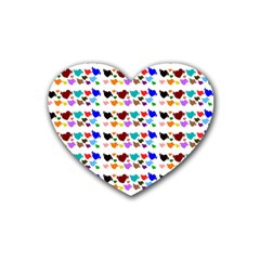 A Creative Colorful Background With Hearts Rubber Coaster (heart)  by Nexatart