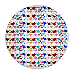 A Creative Colorful Background With Hearts Round Filigree Ornament (two Sides) by Nexatart
