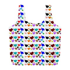 A Creative Colorful Background With Hearts Full Print Recycle Bags (l)  by Nexatart