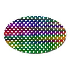 Digital Polka Dots Patterned Background Oval Magnet by Nexatart
