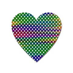 Digital Polka Dots Patterned Background Heart Magnet by Nexatart