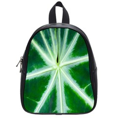 Green Leaf Macro Detail School Bags (small)  by Nexatart