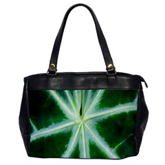 Green Leaf Macro Detail Office Handbags by Nexatart