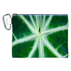 Green Leaf Macro Detail Canvas Cosmetic Bag (xxl) by Nexatart