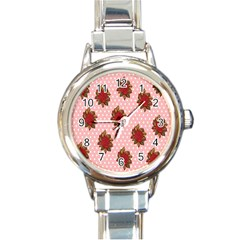 Pink Polka Dot Background With Red Roses Round Italian Charm Watch by Nexatart