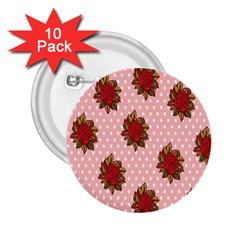 Pink Polka Dot Background With Red Roses 2 25  Buttons (10 Pack)  by Nexatart