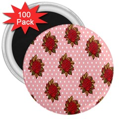 Pink Polka Dot Background With Red Roses 3  Magnets (100 Pack) by Nexatart