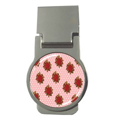 Pink Polka Dot Background With Red Roses Money Clips (round)  by Nexatart