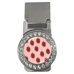 Pink Polka Dot Background With Red Roses Money Clips (cz)  by Nexatart