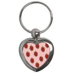 Pink Polka Dot Background With Red Roses Key Chains (heart)  by Nexatart