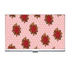 Pink Polka Dot Background With Red Roses Business Card Holders by Nexatart