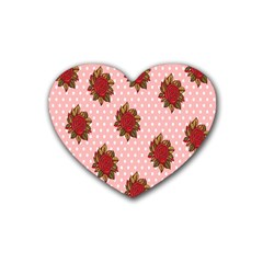 Pink Polka Dot Background With Red Roses Rubber Coaster (heart)  by Nexatart