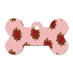 Pink Polka Dot Background With Red Roses Dog Tag Bone (two Sides) by Nexatart