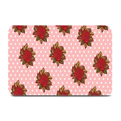 Pink Polka Dot Background With Red Roses Plate Mats by Nexatart