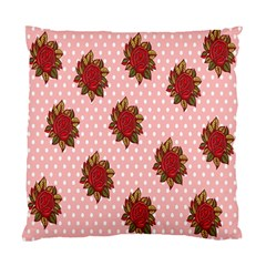 Pink Polka Dot Background With Red Roses Standard Cushion Case (two Sides) by Nexatart