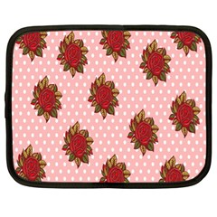 Pink Polka Dot Background With Red Roses Netbook Case (xl)  by Nexatart