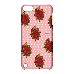 Pink Polka Dot Background With Red Roses Apple iPod Touch 5 Hardshell Case with Stand by Nexatart