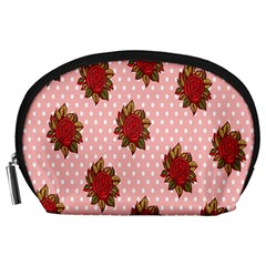 Pink Polka Dot Background With Red Roses Accessory Pouches (large)  by Nexatart