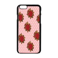 Pink Polka Dot Background With Red Roses Apple Iphone 6/6s Black Enamel Case by Nexatart