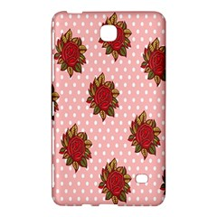Pink Polka Dot Background With Red Roses Samsung Galaxy Tab 4 (8 ) Hardshell Case  by Nexatart