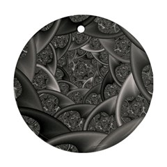 Fractal Black Ribbon Spirals Round Ornament (two Sides) by Nexatart