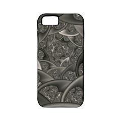 Fractal Black Ribbon Spirals Apple iPhone 5 Classic Hardshell Case (PC+Silicone)