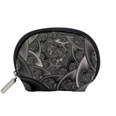 Fractal Black Ribbon Spirals Accessory Pouches (small)  by Nexatart