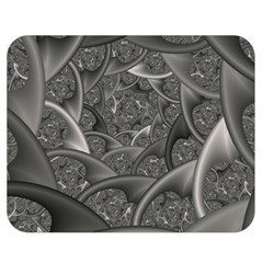 Fractal Black Ribbon Spirals Double Sided Flano Blanket (medium)  by Nexatart