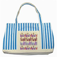 Houses City Pattern Striped Blue Tote Bag by Nexatart