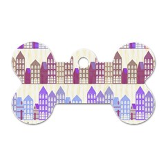 Houses City Pattern Dog Tag Bone (one Side) by Nexatart