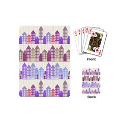 Houses City Pattern Playing Cards (mini)  by Nexatart