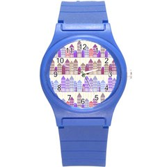 Houses City Pattern Round Plastic Sport Watch (s) by Nexatart