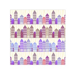 Houses City Pattern Small Satin Scarf (square) by Nexatart