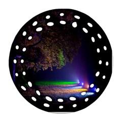 Illuminated Trees At Night Round Filigree Ornament (two Sides) by Nexatart