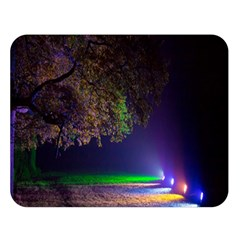 Illuminated Trees At Night Double Sided Flano Blanket (large)  by Nexatart