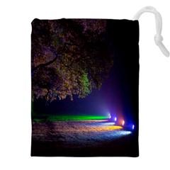 Illuminated Trees At Night Drawstring Pouches (xxl) by Nexatart