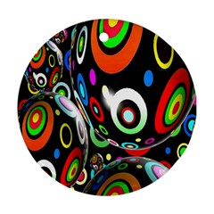 Background Balls Circles Round Ornament (two Sides) by Nexatart