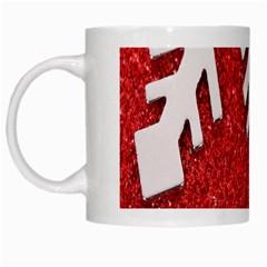 Macro Photo Of Snowflake On Red Glittery Paper White Mugs by Nexatart