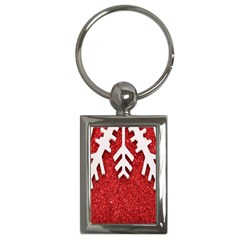 Macro Photo Of Snowflake On Red Glittery Paper Key Chains (rectangle)  by Nexatart